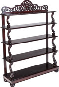 Furniture , A Victorian Anglo-Indian Carved Mahogany Bookshelf, mid 19th century. 64 inches high x 48 inches wide x 14 inches deep (162.... (Total: 2 Items)