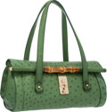 "Luxury Accessories:Bags, Gucci Green Ostrich Bullet Bag with Bamboo Hardware. Very GoodCondition. 12.5"" Width x 7"" Height x 6"" Depth. ..."