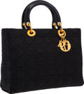 """Luxury Accessories:Accessories, Christian Dior Black Quilted Cannage Nylon Lady Dior Tote Bag . Very Good Condition. 13"""" Width x 10"""" Height x 4"""" Depth..."""