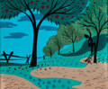 Animation Art:Concept Art, Mary Blair Melody Time Johnny Appleseed Concept Art (Walt Disney, 1948)....