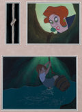 Animation Art:Production Cel, The Rescuers Madame Medusa and Penny Production Cels andMaster Production Backgrounds Setups Group of 2 (Walt Disney,...
