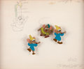 Animation Art:Production Cel, Cinderella Jaq and Gus Production Cel Setup and Color ModelDrawing (Walt Disney, 1950)....