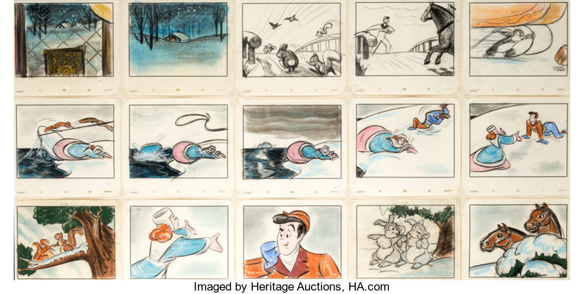 Melody Time Once Upon A Winter Time Johnny Appleseed Storyboard Lot 95168 Heritage Auctions