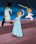 Animation Art:Production Cel, Peter Pan Darling Children Production Cel and Hand-PaintedBackground Setup (Walt Disney, 1953)....