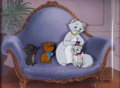 Animation Art:Production Cel, The Aristocats Duchess, Marie, Berlioz, and ToulouseProduction Cels and Master Production Background Setup (WaltDisn...