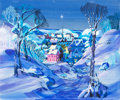 Animation Art:Production Drawing, Walt Peregoy Town in Snowfall Concept Painting (1960s)....