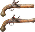 Handguns:Muzzle loading, Pair Ornate 19th Century Turkish Flintlock Blunderbuss Pistols...(Total: 2 Items)