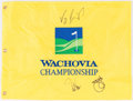 "Golf Collectibles:Autographs, Singh, Toms and Furyk (Previous Tournament Winners) Multi Signed""Wachovia Championship"" Flag...."