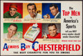 """Miscellaneous Collectibles:General, 1950's Sports Greats """"Chesterfield"""" Advertising Broadside...."""