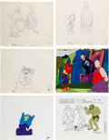 Animation Art:Production Drawing, Groovie Ghoulies Drac and Frank Frankenstein AnimationProduction Cel and Drawing Group of 6 (Filmation, 1971-72). ...(Total: 6 Items)