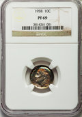 Proof Roosevelt Dimes, 1958 10C PR69 NGC. NGC Census: (355/0). PCGS Population (10/0).Mintage: 875,652. Numismedia Wsl. Price for problem free NG...