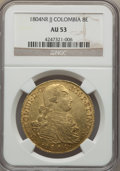 Colombia, Colombia: Charles IV gold 8 Escudos 1804 NR-JJ AU53 NGC,...