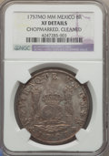 Mexico, Mexico: Ferdinand VI Pillar Dollar of 8 Reales 1757 Mo-MM XFDetails (Chopmarked Cleaned) NGC,...