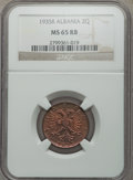 Albania, Albania: Zog I 2 Qindar Ari 1935-R MS65 Red and Brown NGC,...