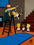 """Animation Art:Production Cel, The Simpsons """"Little Girl in the Big Ten"""" Millhouse andGroundskeeper Willie Production Cel Setup (Fox, 2002)...."""