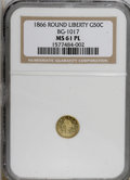 California Fractional Gold: , 1866 50C Liberty Round 50 Cents, BG-1017, R.6, MS61 Prooflike NGC.(#710846)...