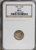 Early Half Dimes, 1801 H10C MS61 NGC. LM-2. NGC Census: (2/2). PCGS Population (0/5).Mintage: 27,760. Numismedia Wsl. Price for NGC/PCGS co...