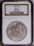 Seated Dollars: , 1842 $1 MS61 NGC. NGC Census: (14/44). PCGS Population (16/57).Mintage: 184,618. Numismedia Wsl. Price: $1,275.(#6928)...