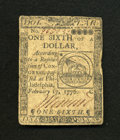 Colonial Notes:Continental Congress Issues, Continental Currency February 17, 1776 $1/6 Very Fine. An attractive example of this popular Fugio fractional Continental th...