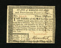 Colonial Notes:Rhode Island, Rhode Island July 2, 1780 $3 Fully Signed Choice New. An exemplarynote from this more available Rhode Island issue that has...