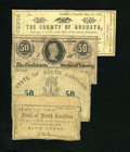 Confederate Notes:1863 Issues, Southern Medley including. T63 50 Cents 1863 VG. Raleigh, NC- Stateof North Carolina 5¢ Oct. 1, 1861 VG. (Cha... (Total: 4 notes)