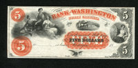 Washington, NC- The Bank of Washington $5 18__. This remainder note is simply gorgeous with its vibrant orange overprint...