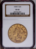 Liberty Double Eagles: , 1858-S $20 XF45 NGC. NGC Census: (130/392). PCGS Population(53/159). Mintage: 846,710. Numismedia Wsl. Price: $839.(#8925)...