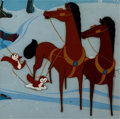 Animation Art:Production Cel, Melody Time Horses in Winter Production Cel (Walt Disney,1948)....