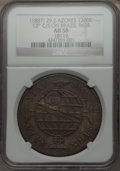 Azores, Azores: Portuguese Colony Counterstamped 1200 Reis ND (1887) AU58 NGC,...