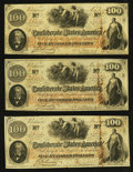 "Confederate Notes:1862 Issues, Manuscript Endorsed ""O.H.P. Cavender"" T41 $100 1862 ThreeExamples.. ... (Total: 3 notes)"