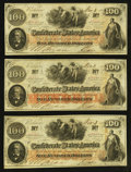 Confederate Notes:1862 Issues, T41 $100 1862 Three Examples.. ... (Total: 3 notes)