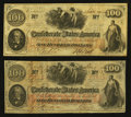 Confederate Notes:1862 Issues, T41 $100 1862 Two Trans-Mississippi Examples.. ... (Total: 2 notes)