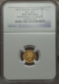 California Fractional Gold , 1870 $1 Goofy Head Round 1 Dollar, BG-1205, High R.4 -- ImproperlyCleaned -- NGC Details. UNC. NGC Census: (0/6). PCGS Pop...