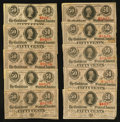 Confederate Notes:1863 Issues, T63 50 Cents 1863 PF-2 Cr. UNL Nineteen Examples.. ... (Total: 19notes)