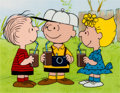 Animation Art:Production Cel, Peanuts The Charlie Brown and Snoopy Show Charlie and SallyBrown and Linus Van Pelt VIT Chocolate Drink Advertise...