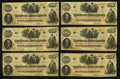 Confederate Notes:1862 Issues, T41 $100 1862 PF-22 Cr 320A Six Examples.. ... (Total: 6 notes)