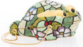"""Luxury Accessories:Accessories, Judith Leiber Multicolor Crystal Frog Minaudiere Evening Bag.Very Good Condition. 3"""" Width x 5"""" Height x 2"""" Depth...."""