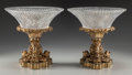 Decorative Arts, French:Other , A Louis XV-Style Gilt Bronze and Cut-Glass Garniture, late 19thcentury. 11-3/4 inches high x 12 inches diameter (bowl) (29....(Total: 4 Items)
