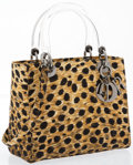 "Luxury Accessories:Accessories, Christian Dior Leopard Print Gros Grain Lady Dior MM Tote Bag.Excellent Condition. 9.5"" Width x 8"" Height x 4""Depth,..."