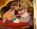 Animation Art:Production Cel, An American Tale Mousekewitz Family Production Cel andHand-Painted Background Setup (Sullivan Bluth/Amblin, 1986)....