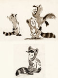 Animation Art:Concept Art, Peter Pan Raccoon Twins Concept Art with Studio Model Sheets (Walt Disney, c. 1940s).... (Total: 3 Items)