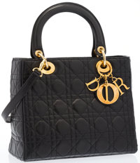 Christian Dior Black Quilted Cannage Leather Lady Dior MM Tote Bag Very Good to Excellent Condition
