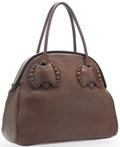 "Luxury Accessories:Accessories, Alaia Brown Leather Shoulder Bag with Leather Studs. Very Goodto Excellent Condition. 13"" Width x 12"" Height x 5""Dep..."