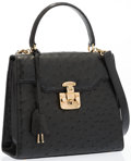 """Luxury Accessories:Accessories, Gucci Black Ostrich Top Handle Bag. Excellent Condition. 9.5"""" Width x 8.5"""" Height x 4"""" Depth, 3.5"""" Handle Drop, 18"""" Sh..."""