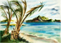 Animation Art:Production Drawing, Retta Scott Hawaiian Beach Painting (Walt Disney, 1950s/60s)....