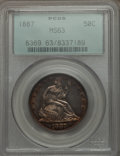 Seated Half Dollars: , 1887 50C MS63 PCGS. PCGS Population (19/64). NGC Census: (13/53). Mintage: 5,000. Numismedia Wsl. Price for problem free NG...