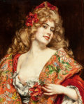 Fine Art - Painting, European:Modern  (1900 1949)  , Camillo Melnik (Austrian, b. 1862). The Russian Courtesan.Oil on panel. 28-3/4 x 23-1/2 inches (73 x 59.7 cm). Signed u...