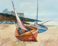 Fine Art - Painting, European:Modern  (1900 1949)  , Charles Levier (French, 1920-2003). Boats. Oil on canvas. 24x 30 inches (61 x 76.2 cm). Signed lower right: Levier...