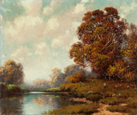 A.D. Greer (American, 1904-1998) Autumn Landscape Oil on canvas 22 x 26 inches (55.9 x 66 cm)