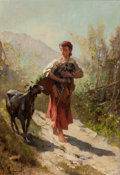 Fine Art - Painting, European:Antique  (Pre 1900), François-Léonce Reynaud (French, 1803-1880). Off to theMarket. Oil on canvas. 21-1/2 x 15 inches (54.6 x 38.1 cm).Sign...